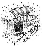 雨の日の托鉢