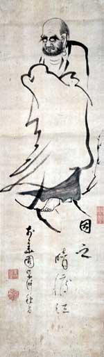 卓州胡僊 蘆葉の達磨画賛(禅文化研究所蔵)